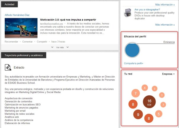 Linkedin Eficacia Perfil
