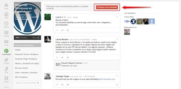 Comunidades Google Plus Participar