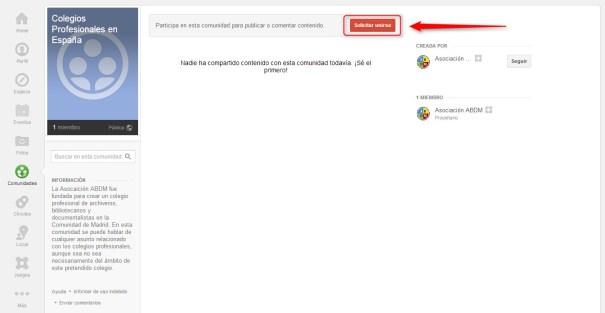 Comunidades Google Plus Solicitar Unirse