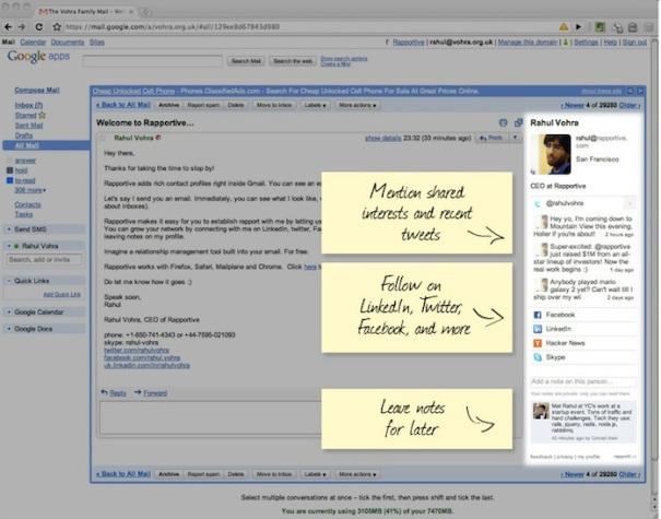 LinkedIn Rapportive Gmail