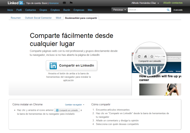 Compartir LinkedIn BookMarklet