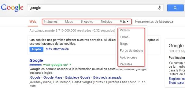 filtros búsquedas en Google
