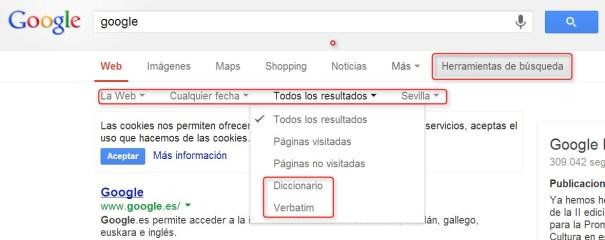 herramientas de búsqueda en Google