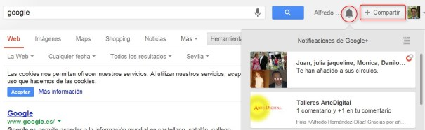 notificaciones Google Plus Local