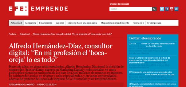 Entrevista EFE Emprende a Alfredo Hernández-Díaz como Consultor Digital