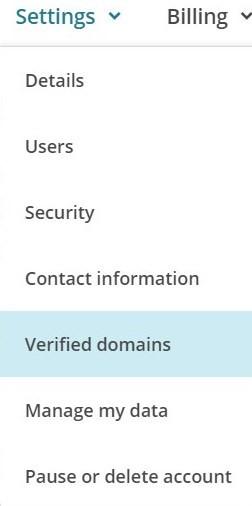 Opción de Verified Domains en Mailchimp