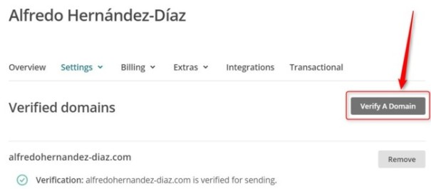 Verify a domain en Mailchimp