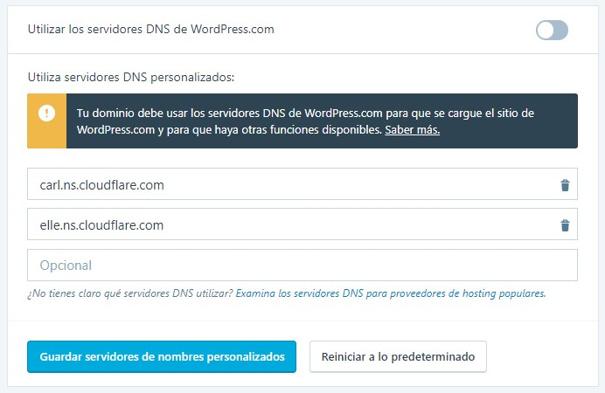 Cambiar DNS desde WordPress.com desde Cloudfare