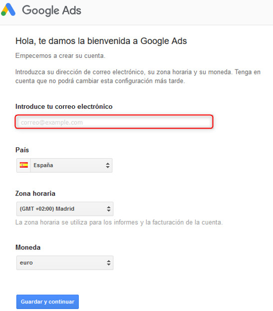 Solicitud de datos para el registro en Google Ads