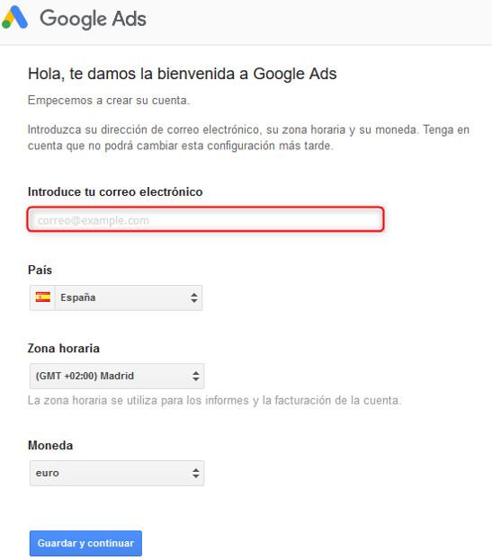 Solicitud de datos para el registro en Google Ads